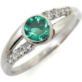 婚約指輪 エメラルド 一粒 5月誕生石 リング