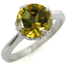 婚約指輪 シトリン 大粒 唐草 K18 リング