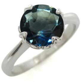 婚約指輪 ロンドンブルートパーズ 大粒 唐草 K18 リング