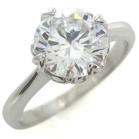 婚約指輪 キュービックジルコニア 大粒 唐草 K18 リング