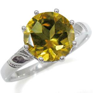 プラチナ 婚約指輪 大粒 エンゲージリング シトリン 婚約指輪 蔦