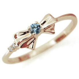 選べる誕生石 リング リボン リング 10金 シンプル 指輪