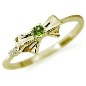 リボン・リング・選べる誕生石・リング・K18・指輪
