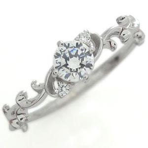 プラチナ ダイヤモンド エンゲージリング 一粒 唐草 リング 婚約指輪