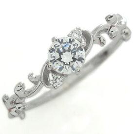 鑑定書 ダイヤモンド エンゲージリング 唐草 K18 SIクラス ダイヤモンド 婚約指輪