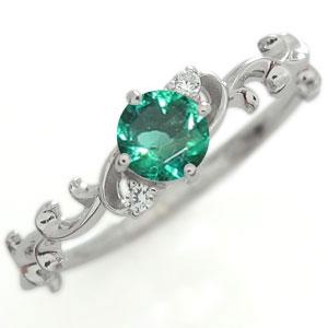 プラチナ エメラルド エンゲージリング 一粒 唐草 エンゲージリング 婚約指輪