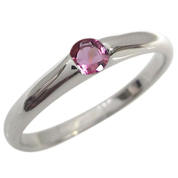 プラチナ 誕生石 ファランジリング 婚約指輪 一粒 エンゲージリング ピンキー