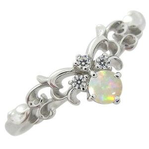 オパール ティアラ エンゲージリング プラチナ 婚約指輪
