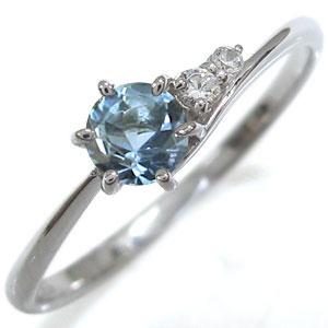 アクアマリンサンタマリア エンゲージリング シンプルリング K10 婚約指輪