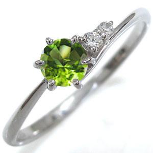 プラチナ 一粒 ペリドット エンゲージリング プレゼント エンゲージリング 婚約指輪