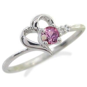 ピンクサファイア ピンキーリング プラチナ ハート ピンキーリング 指輪