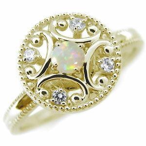 オパールリング K18 アンティーク オパール 婚約指輪