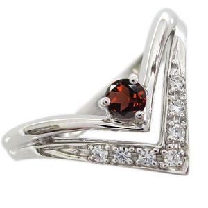 婚約指輪 ガーネット エンゲージリング V字 エンゲージリング K18 リング