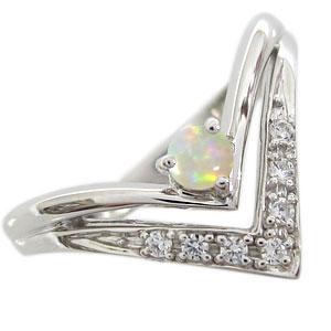 【送料無料】オパール プラチナ エンゲージリング V字 エンゲージリング 婚約指輪 オパールリング【RCP】10P06Aug16