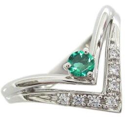 エメラルド プラチナ エンゲージリング V字 エンゲージリング 婚約指輪 エメラルドリング