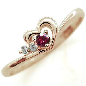 誕生石 ハート ピンキーリング ピンキーリング 指輪 K10