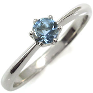 シンプルリング アクアマリンサンタマリア 一粒 K18 エンゲージリング 婚約指輪