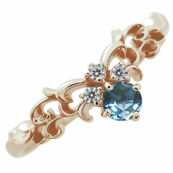 ティアラ エンゲージリング ブルートパーズ 10金 婚約指輪 ファランジリング
