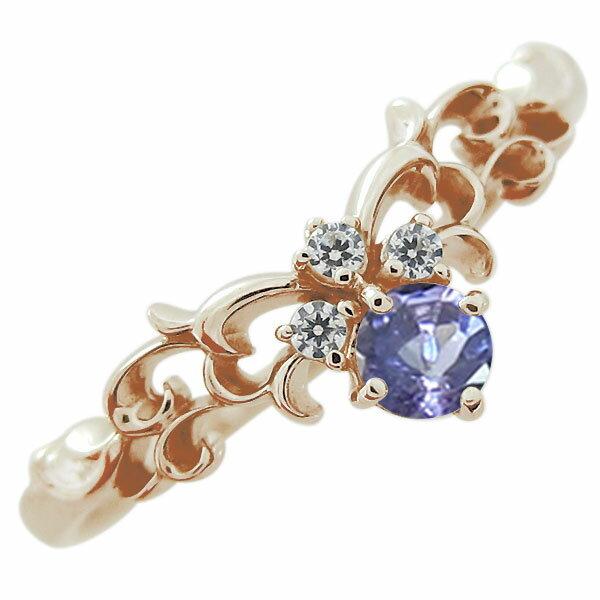ティアラ エンゲージリング タンザナイト 10金 婚約指輪 ファランジリング