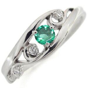 プラチナ エメラルド エンゲージリング 唐草 婚約指輪 アラベスク リング