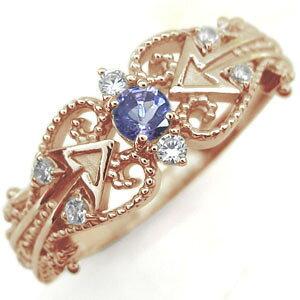 30日限定【ポイント5倍】タンザナイト リング 天使の矢 アロー 10金 指輪