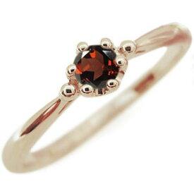 ガーネット エンゲージリング シンプル 王冠 10金 エンゲージリング 婚約指輪