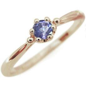 タンザナイト エンゲージリング シンプル 王冠 10金 エンゲージリング 婚約指輪