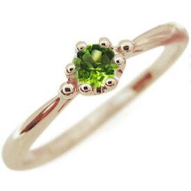 ペリドット エンゲージリング シンプル 王冠 10金 エンゲージリング 婚約指輪