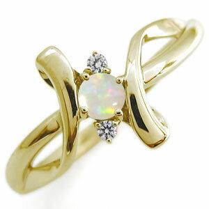 オパール エンゲージリング クロス エンゲージリング 10金 婚約指輪 レディースリング
