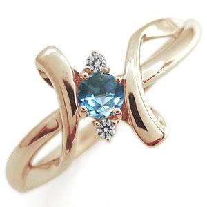 クロス エンゲージリング ブルートパーズ エンゲージリング K18 婚約指輪