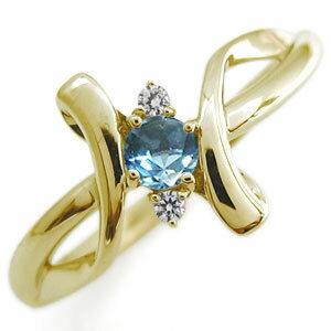 指輪 レディース おしゃれ ブルートパーズ エンゲージリング クロス エンゲージリング 10金 婚約指輪 レディースリング