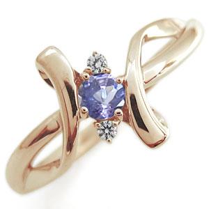【送料無料】クロス エンゲージリング タンザナイト エンゲージリング K18 婚約指輪【RCP】10P06Aug16