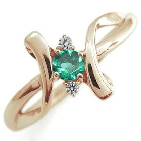 クロス エンゲージリング エメラルド エンゲージリング K18 婚約指輪