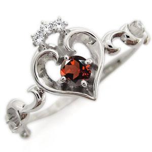プラチナ オープンハート エンゲージリング ティアラ ガーネット エンゲージリング 婚約指輪