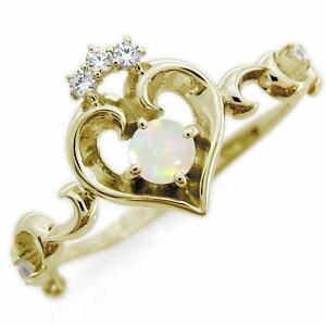 オパール エンゲージリング ハート アラベスク 18金 華奢 婚約指輪【RCP】10P06Aug16
