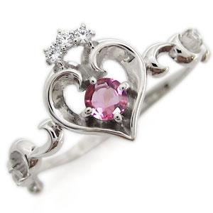 プラチナ オープンハート エンゲージリング ティアラ ピンクトルマリン エンゲージリング 婚約指輪