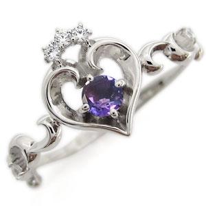 プラチナ オープンハート エンゲージリング ティアラ アメジスト エンゲージリング 婚約指輪