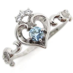 プラチナ オープンハート エンゲージリング ティアラ アクアマリンサンタマリア エンゲージリング 婚約指輪