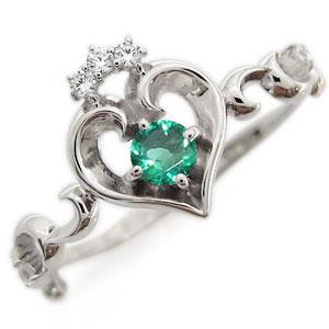プラチナ オープンハート エンゲージリング ティアラ エメラルド エンゲージリング 婚約指輪