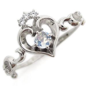 プラチナ オープンハート エンゲージリング ティアラ ロイヤルブルームーンストーン エンゲージリング 婚約指輪