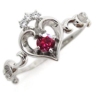 プラチナ オープンハート エンゲージリング ティアラ ルビー エンゲージリング 婚約指輪