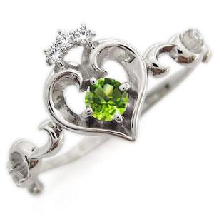 プラチナ オープンハート エンゲージリング ティアラ ペリドット エンゲージリング 婚約指輪
