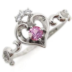 プラチナ オープンハート エンゲージリング ティアラ ピンクサファイア エンゲージリング 婚約指輪