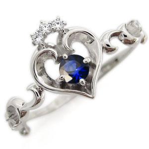 プラチナ オープンハート エンゲージリング ティアラ サファイア エンゲージリング 婚約指輪