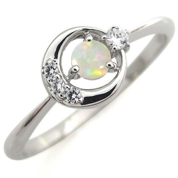 プラチナ オパール エンゲージリング 月モチーフ 婚約指輪 レディース 人気 リング