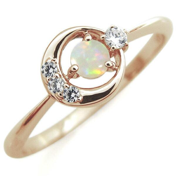 10月誕生石 オパール 月モチーフ エンゲージリング 星 10金 婚約指輪