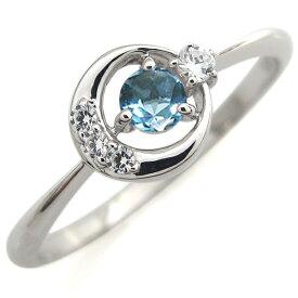 指輪 レディース おしゃれ プラチナ ブルートパーズ エンゲージリング 月モチーフ 婚約人気 リング