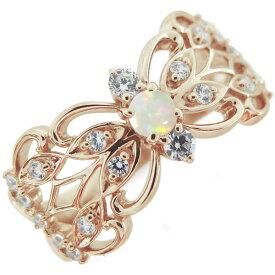オパール 指輪 バタフライ リング 蝶 10金 アラベスク リング