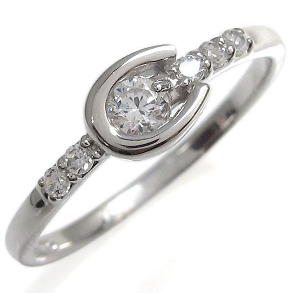 ダイヤモンド・リング・ホースシューリング・プラチナ・指輪
