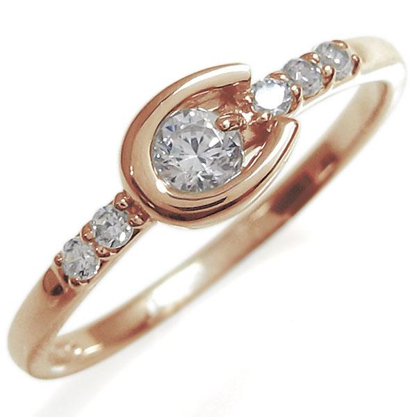 馬蹄 リング ダイヤモンド 指輪 18金 ホースシューリング